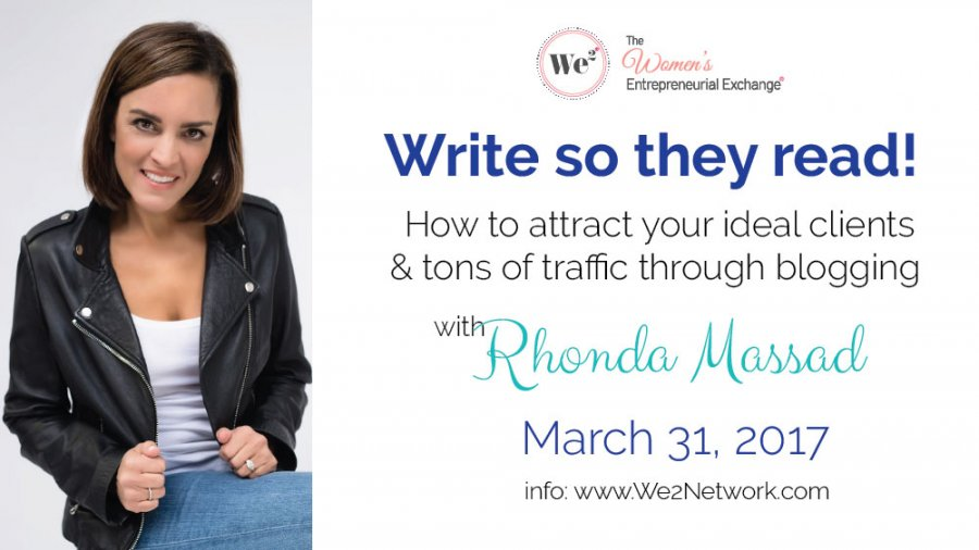 Write So They Read- We2 Meet March 31st